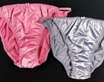 46c18fc7b1 Satin String Bikini Panties · Pink   Silver · XL 8