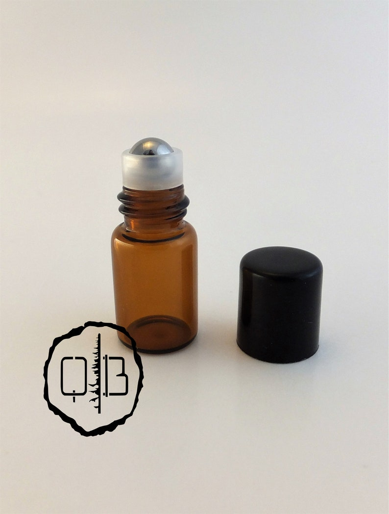 e859d400e72a Pack of 4: Vials, sample, 2ml empty glass amber roll-on bottles with  stainless steel roller ball for essential oil