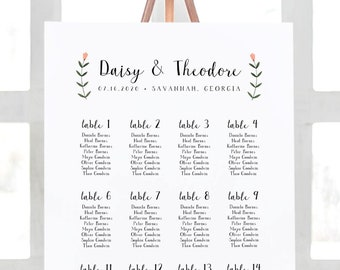 Wedding Seating Chart Template - Folk Wildflowers - Watercolor Floral - Rustic - Editable Text - US & UK sizes - Instant Download WS-021