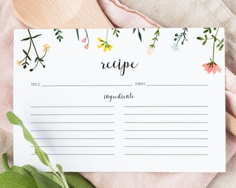 Recipe Card Printable Template - Folk Wildflowers - Bridal Shower Insert - Editable Recipe - Instant Download - DIY Custom Recipe WS-021