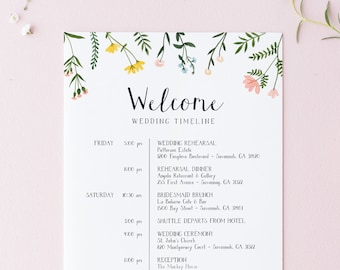 Wedding Timeline Itinerary Template - Folk Wildflowers Collection - Double Sided - Floral Design - Instant Download - 5x7 8.5x11 - WS-021