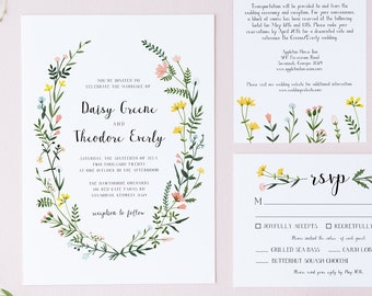 Folk Wildflowers Wedding Invitation Suite - Editable Template - Watercolor Wild Flowers Wreath - Instant Download - RSVP and Detail - WS-021