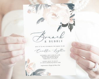 703800ae349f Brunch   Bubbly Bridal Shower Invitation Template - Camellia Gray Dusty  Blue Watercolor Floral - Printable Editable Instant Download WS-009