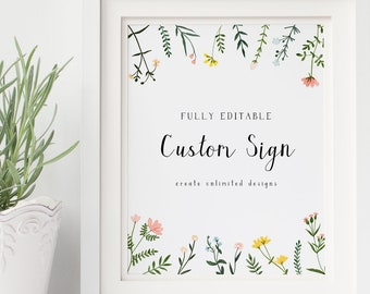 Custom Sign Template 5x7 8x10 11x14 - Folk Wildflowers - Unlimited Designs - Watercolor Floral - Editable Text - Instant Download WS-021