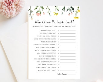 Who Knows the Bride Best Bridal Shower Game Printable -  Folk Wildflowers - Editable Template  - Instant Download WS-021