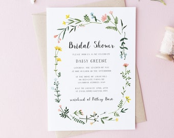 Bridal Shower Invitation Template - Folk Wildflowers - Watercolor Floral Wreath - Printable Invite - Editable Text - Instant Download WS-021
