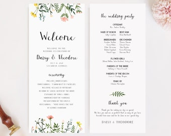 Wedding Program Template - Folk Wildflowers - Long Program - Double Sided - Watercolor Floral - Instant Download - Order of Service - WS-021