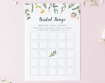 Bridal Shower Bingo Game Printable Template - Folk Wildflowers - Bridal Bingo Download  - Instant Download - Floral Personalized Game WS-021