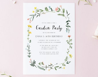 Garden Party Invitation Template - Folk Wildflowers - Watercolor Floral Wreath - Printable Invite - Editable Text - Instant Download WS-021