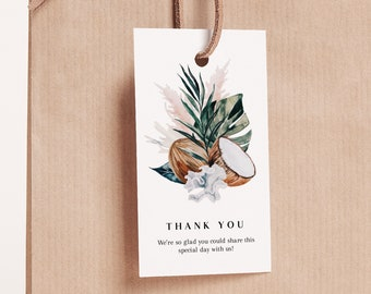Tropical Favor Tag Template - White Sands Collection - Welcome Gift Bag Tag - Editable Text  - Printable Instant Download - 2x3.5 - WS-029