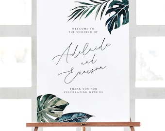Tropical Welcome Sign Template - White Sands Collection - 18x24 24x36 A1 A2 - Wedding Welcome Sign - Editable Text - Instant Download WS-029