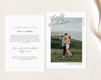 Wedding Announcement 5x7 Editable Template with Photo - Marriage Elopement Announcement Card - Instant Download - WA-015