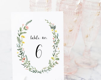 Table Number Template - Folk Wildflowers - Watercolor Floral Wreath - Instant Download - 4x6 + 5x7 - Printable Editable Text - WS-021