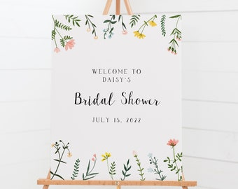 Welcome Sign Template 12x18 + 16x20 - Folk Wildflowers Collection - Floral Design - Editable Download Bridal Shower Welcome Sign WS-021