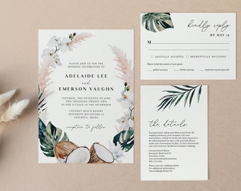 Tropical Wedding Invitation Suite - White Sands Collection - Editable Template - Instant Download - RSVP and details card - WS-029