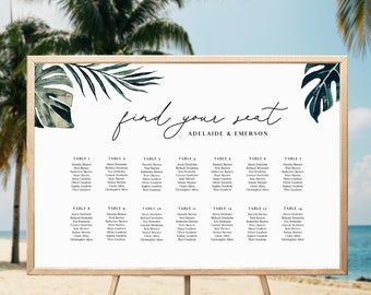 Tropical Wedding Seating Chart Template Landscape - White Sands Collection - Editable Text - US & UK sizes - Instant Download - WS-029