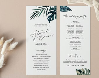 Tropical Wedding Program Template - Watercolor Palm Fronds - Long Program - Double Sided - Instant Download - Order of Service - WS-029
