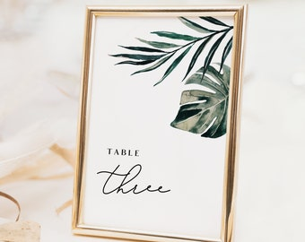Tropical Table Number Template - Editable Text Template - White Sands Collection - Instant Download - 4x6 & 5x7 - WS-029