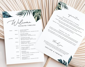 Wedding Timeline Itinerary Template - White Sands Collection - Tropical Greenery - Double Sided - Instant Download - 5x7 and 8.5x11 - WS-029