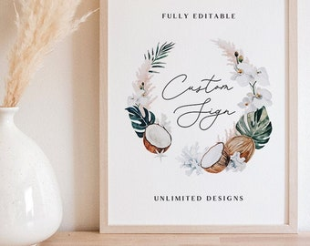Custom Sign Template 5x7 8x10 11x14 Unlimited Designs - Tropical Design - White Sands Collection - Editable Text - Instant Download WS-029