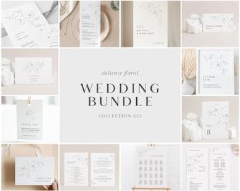 Wedding Bundle - Delicate Floral Collection - Minimalist Design Wedding Templates Bundle - Wedding Essentials - Instant Download - WS-025