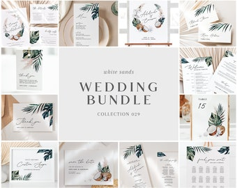 White Sands Wedding Bundle - Tropical Wedding Templates Bundle - Wedding Essential Editable Templates - Instant Download - WS-029
