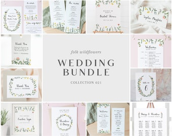 Wedding Bundle - Folk Wildflowers Collection - Floral Design - Wedding Templates Bundle - Wedding Essentials - Instant Download - WS-021