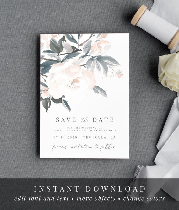 Watercolor Dusty Blue Flowers WS-009 Seating Card Flat /& Tent Camellia Place Card Printable Editable Template Instant Download