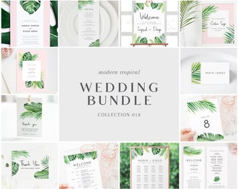 Modern Tropical Wedding Bundle - Bulk Wedding Templates Bundle - Wedding Essential Editable Templates - Instant Download - WS-018