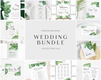 Tropical Greenery Wedding Bundle - Bulk Wedding Templates Bundle - Wedding Essential Editable Templates - Instant Download - WS-018