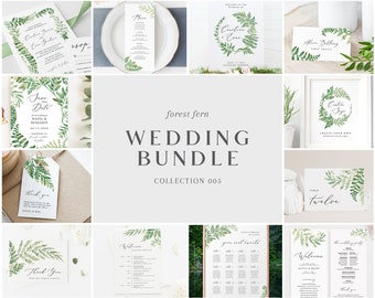 Wedding Bundle - Forest Fern Collection - Bulk Wedding Templates Bundle - Wedding Essential Editable Templates - Instant Download - WS-005