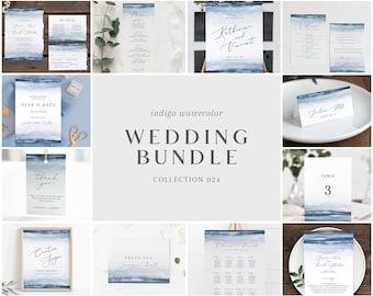 Indigo Blue Watercolor Wedding Bundle - Bulk Wedding Templates Bundle - Wedding Essential Editable Templates - Instant Download - WS-024