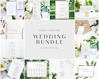 Wedding Bundle - Modern Calligraphy Collection - Minimalist Design Wedding Templates Bundle - Wedding Essentials - Instant Download - WS-026