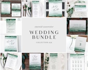 Emerald Green Watercolor Wedding Bundle - Bulk Wedding Templates Bundle - Wedding Essential Editable Templates - Instant Download - WS-028