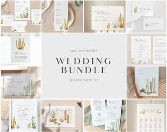 Wedding Bundle - Sonoran Desert Collection - Cactus Theme Wedding Templates Bundle - Wedding Essentials - Instant Download - WS-025