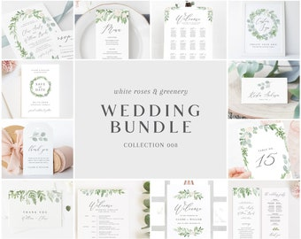 Wedding Bundle - White Roses & Greenery Collection - Wedding Templates Bundle - Essential Editable Templates - Instant Download - WS-008