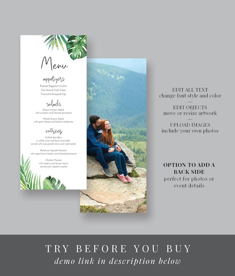 Watercolor Palm Leaves Instant Download Editable Text Printable WS-018 Long Menu Tropical Greenery Menu Template