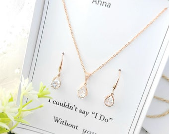 Double Tearl Drop Earring.Rose Gold Necklace and Earring Set. Clear Tearl Drop Necklace Rose Gold Clear Necklace and Earring Set