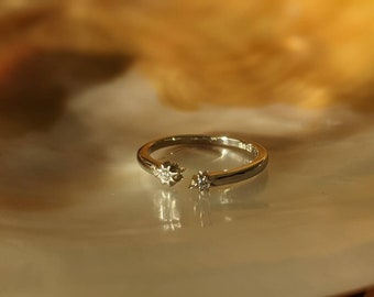 Sterling Silver/Gold Plated Shooting Star Crystal Ring/Band