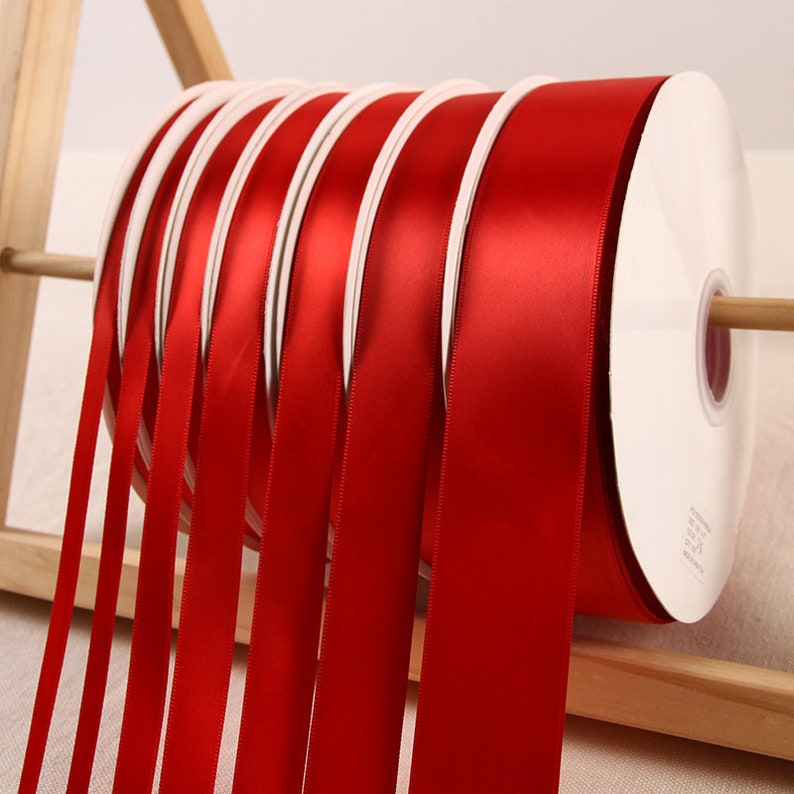 party decoration wedding decoration craft ribbon, 100yards bright red satin ribbon for gift wrapping