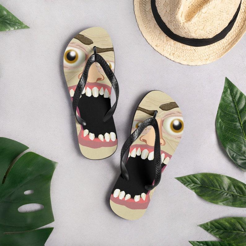 Face Flip-Flops Funny Face Flip Flops Mushed Face Flip Flops Horror Flip Flops Scary Face Flip Flops