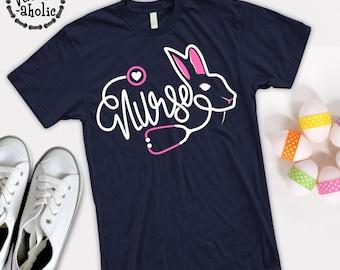 06ab5c7d063ca Nurse Rabbit T-shirt/ Bunny Nurse T Shirt/ Nurse Easter Tees/ Easter Nurses  gift/ Stethoscope Nurse Easter Bunny T shirt/ Nurse egg hunting