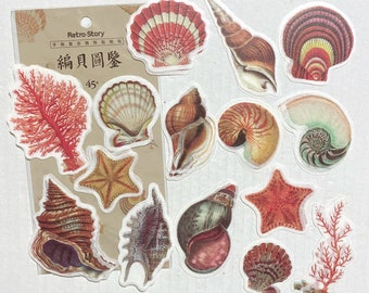 Puffy Embossed 3D Seashell Stickers 6-Count