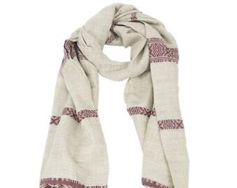 fab82c27ad Foulard, Foulard Chanvre motif bordeaux, 100% naturel et tissé à la main,  écharpe, scarf, hemp scarf, handwoven scarf