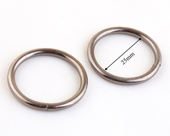 "SOLID METAL non welded O RING 25mm 1/""  2 5 10 purse belt leather round SILVER UK"