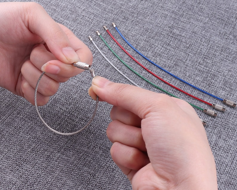 10pcs Colorful stainless steel wire with screw clasp,silver wire cord stainless steel,6/'/'wire necklace cord Collar Choker Screw Clasp