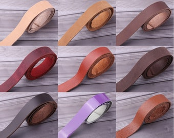 1 inch wide Natural Leather Blank Strip Strap-Flat Leather Straps for Belt,tanned leather strip,purse strap,real Strap Handle for bag straps