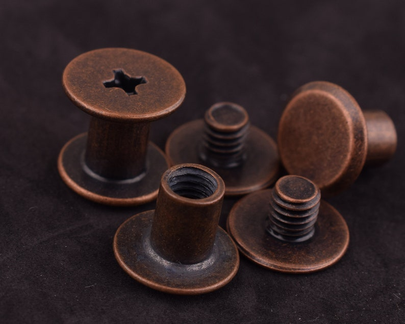 20 sets 9*10 mm antique copper Screw Rivets Metal Button Screw back Studs Screw Studs for Leather Craft screw studs screw rivet Stud Spike