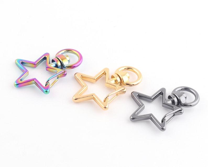 8mm Charm Hooks Push Gate Colorful star swivel clasp,Star swivel snap hook key chain,Star Lobster Swivel Clasp Snap Purse Hooks 38inch