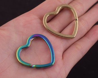 1 inch (25mm)Rainbow and gold Heart Key Rings Split Key Rings Key Chain Supplies Heart Shaped metal Key Rings for leather keychain findings